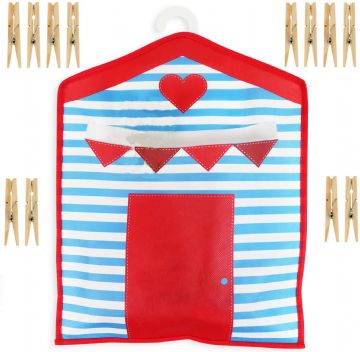 Beach Hut Peg Bag + FREE Pegs 33x27cm Hanging Clothes Line